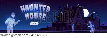 Haunted House Cartoon Web Banner, Online Invitation To Halloween Party. Abandoned Creepy Cottage Wit