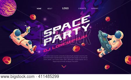 Space Party Cartoon Flyers, Invitation To Music Show With Astronaut Dj With Turntable In Open Space,