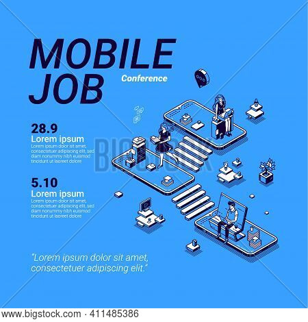 Mobile Job Conference Poster. Workshop About Online Business Using Phone, Career In Digital Area, Mo