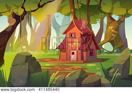 Wooden House In Summer Forest. Old Shack In Deep Wood With Falling Sun Beams Among Green Trees And R
