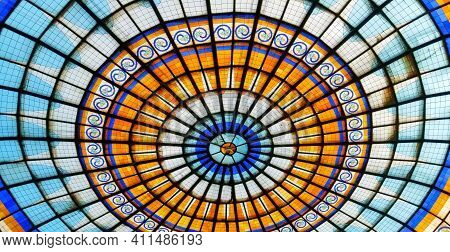 Stained Glass Dome Ceiling. Sanctuary Church Ceiling Dome With Soft Lighting