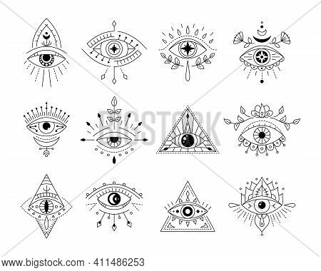 Vector Collecton Line Art Mystic Eyes Tattoo. Set Of Providence Sight Witchcraft Symbol. Evil Eye Am