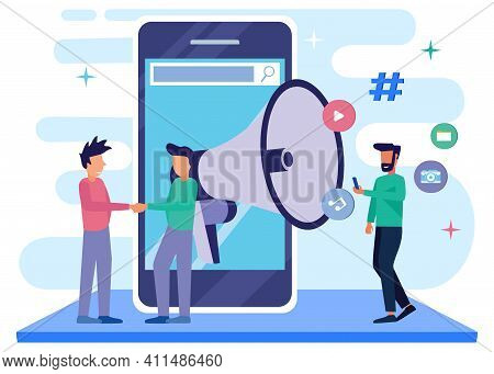 Flat Isometric Vector Illustration. People Characters Use Big Loudspeaker To Communicate With Audien