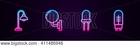 Set Line Floor Lamp, Wall Sconce, Light Emitting Diode And . Glowing Neon Icon. Vector
