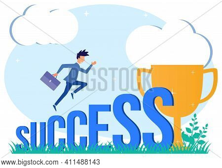Creative Illustration Vector Graphic Of Success, People Start The Day To Reach Their Goal To Success