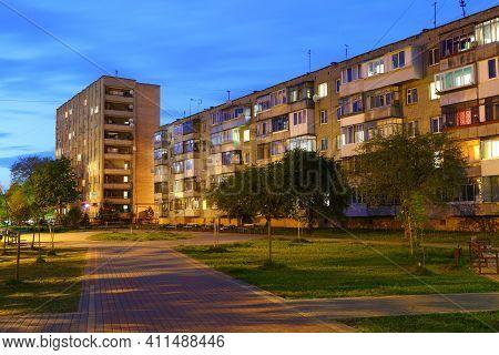 Apartment Buildings City Quarter At Night Cityscape