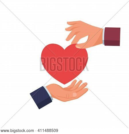 Give Heart. Donate Symbol. Vector Illustration Flat Design. Holding Red Heart. Isolated On White Bac