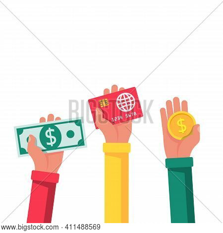 Money In Hand. Cash In Human. Showing, Pay, Giving Banknote, Card And Coin. Money Hold Isolated On W
