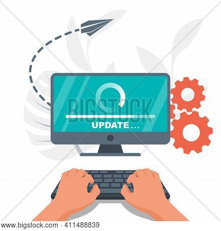 System Update. The Programmer Behind The Computer Screen. Hands On The Keyboard. New Version Softwar