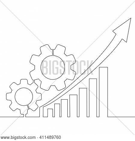 Continuous One Single Line Drawing Productivity Bar Chart With Gear Icon Vector Illustration Concept