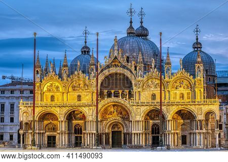 The Famous St Mark's Basilica In Venice At Dawn