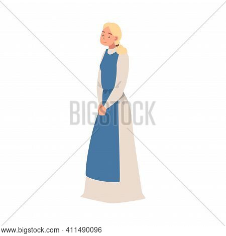 Young Medieval Female Peasant Wearing Long Dress With Apron Vector Illustration
