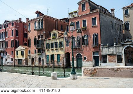 Beautiful Old Houses And One Of The Famous Channels Seen In Venice, Italy
