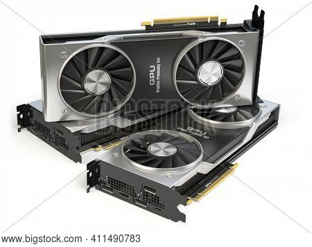 Graphics cards. Modern gaming  GPU graphics processing units isolated on white.  3d illustration