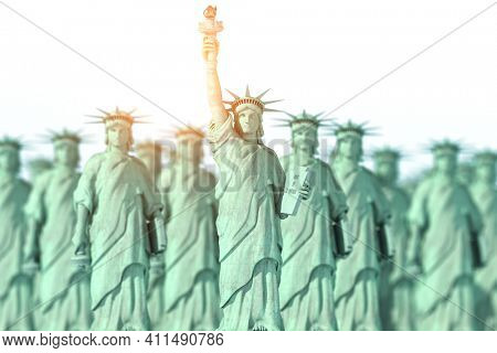 Statues of Liberty. Leadership and democracy in USA concept. 3d illustration