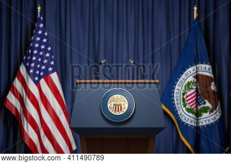 Federal Reserve System Fed of USA chairman press conference concept. Tribune with symbol and flag of FRS and United States. 3d illustration
