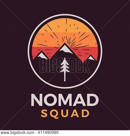 Nomad Squad Logo, Retro Camping Adventure Emblem Design With Mountains And Tree. Unusual Vintage Art