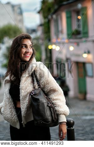 Paris, France - October 3, 2020 : Portrait Of A Young Parisian Woman With A Beautiful Smile