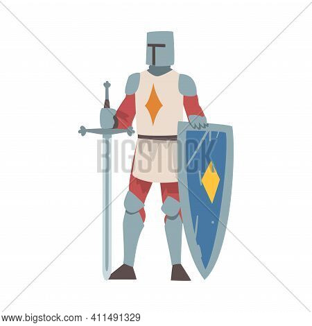 Knight From Middle Ages In Iron Armour Suit Holding Shield And Sharp Sword Vector Illustration