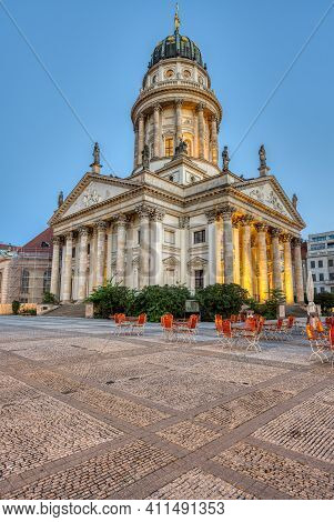The French Cathedral At The Gendarmenmarkt In Berlin At Dawn With No People
