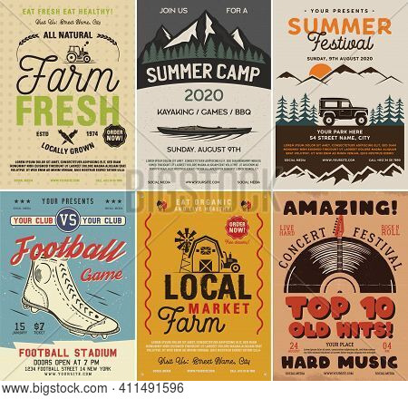 Outdoor Camping And Rock Music Flyers Set, A4 Format. Adventure Posters Graphic Design With Mountain