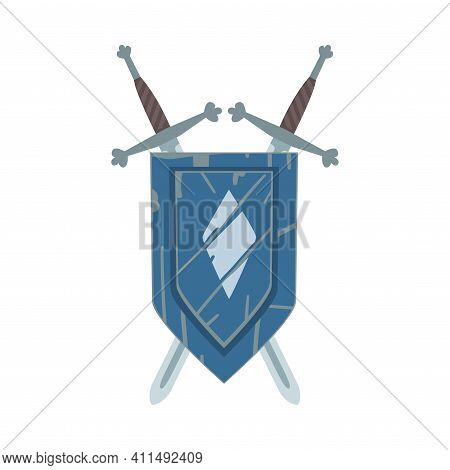 Coat Of Arms On Escutcheon Or Shield With Crossed Swords Vector Illustration