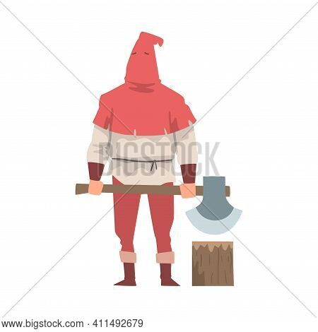 Medieval Executor Or Headman Wearing Red Hat And Carrying Sharp Axe Vector Illustration