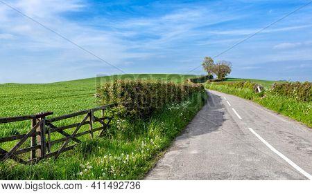 Farm fields along a country road in rural
