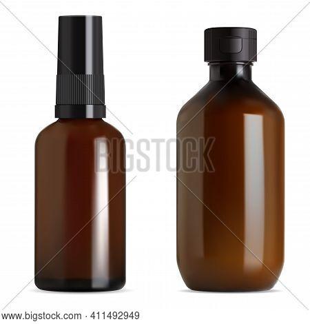 Syrup Bottle. Brown Glass Vial, Essential Oil Bottle Blank Mockup. Amber Vial Screw Cap, Medical Con