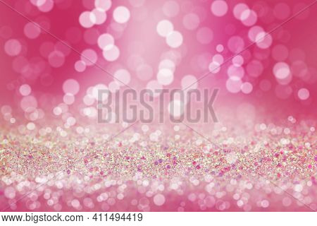 Shiny Background. Beautiful Glowing Bokeh. Bright Glowing Background. Shiny Glowing Effect. Pink Seq