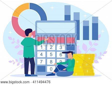 Vector Illustration Of Business Concepts, Money And Finance Management, Payroll. Costs, Salary Calcu