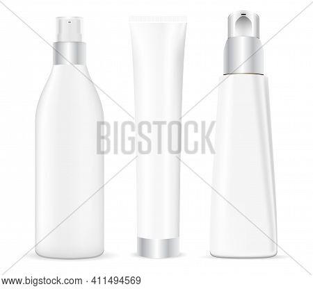 Cosmetic Bottle Mockup. Face Serum Dispenser Package. Beauty Cream Tube Sample Design Illustration.