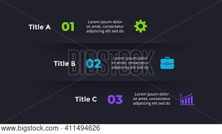 Neumorphic Vector Infographic. Presentation Slide Template. 3 Steps. Neumorphism Dark Ui Design. Cle