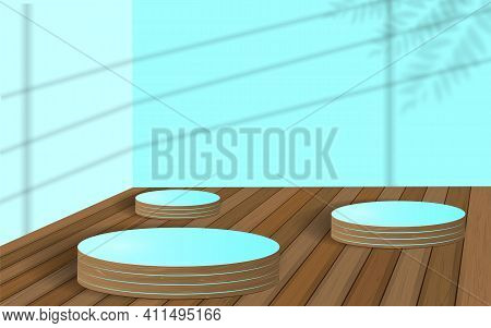 Minimal Scene With Geometric Forms. Cylinder Wood Podium In Blue Background With Shadow Leaves. Scen