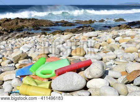 Beach With Plastic Pollution At Famous Rias Baixas Region. Galicia, Spain.