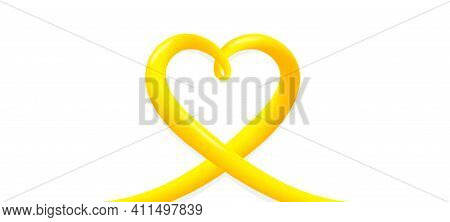 Heart 3d Ribbon. Blended Fluid Love Tape. Smooth 3d Line For Valentine Day, Wedding. Creative Yellow