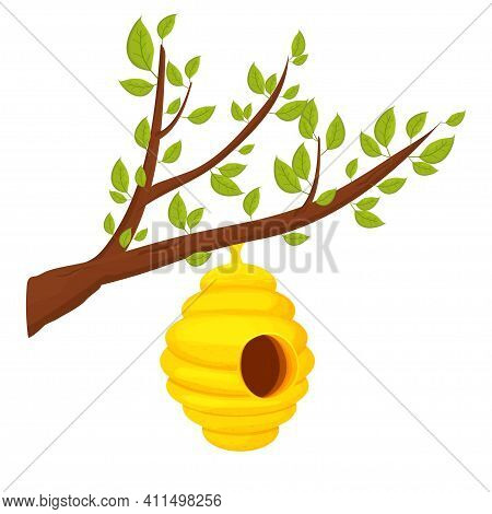 Bee Hive On Tree Branch In Cartoon Style Isolated On White Background. Wild, Hanging Construction. B