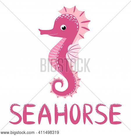 Seahorse, Scandinavian Style Hippocampus, Hand Drawn, Beautiful Detailed Pink And Text