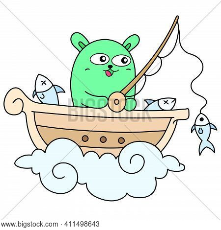 Cute Creatures Fishing On The Boat Doodle Kawaii. Doodle Icon Image. Cartoon Caharacter Cute Doodle