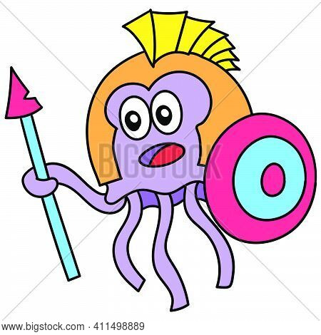 Jellyfish Warriors Carrying Shields And Spears Doodle Kawaii. Doodle Icon Image. Cartoon Caharacter