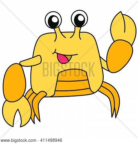 Crab With Yellow Claws Doodle Kawaii. Doodle Icon Image. Cartoon Caharacter Cute Doodle Draw