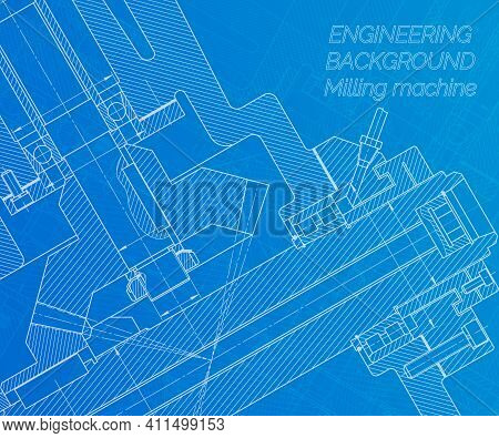 Mechanical Engineering Drawings On Blue Background. Milling Machine Spindle. Technical Design. Cover