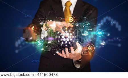 Businessman holding cardano symbol, investment concept