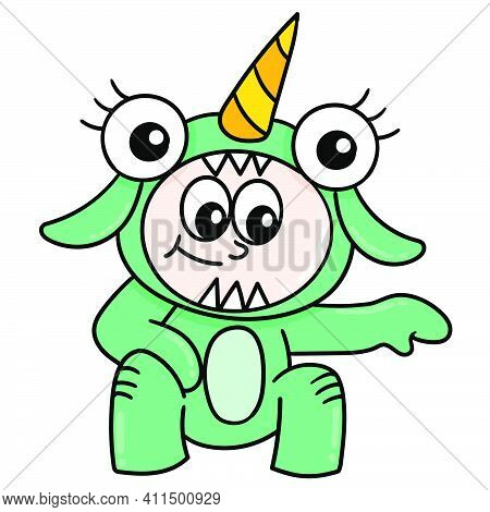 A Little Boy Is Wearing A Cute Monster Costume Doodle Kawaii. Doodle Icon Image. Cartoon Caharacter