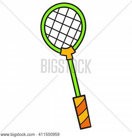 Badminton Sports Equipment Racket Doodle Kawaii. Doodle Icon Image. Cartoon Caharacter Cute Doodle D