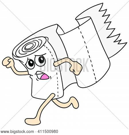 Cartoon Tissue Running Scared Doodle Kawaii. Doodle Icon Image. Cartoon Caharacter Cute Doodle Draw