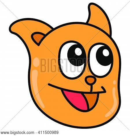 Cat Head Laughing Happily Doodle Kawaii. Doodle Icon Image. Cartoon Caharacter Cute Doodle Draw