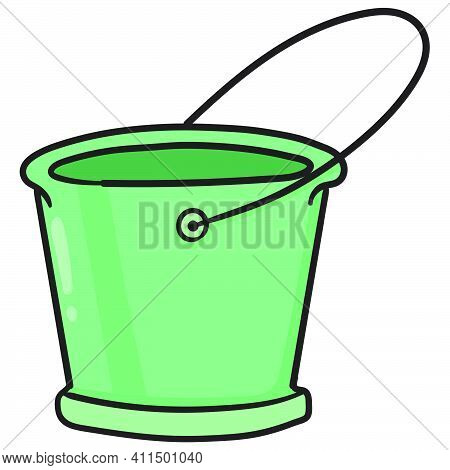 Empty Green Water Buckets Doodle Kawaii. Doodle Icon Image. Cartoon Caharacter Cute Doodle Draw