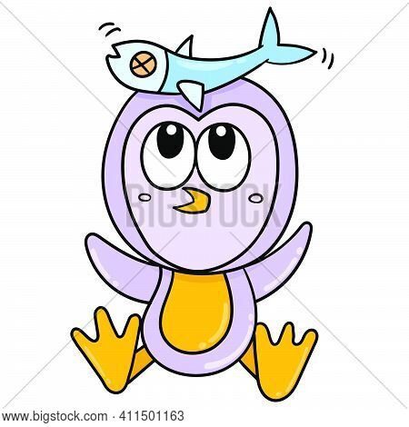 Penguins Play With Their Food Fish Doodle Kawaii. Doodle Icon Image. Cartoon Caharacter Cute Doodle