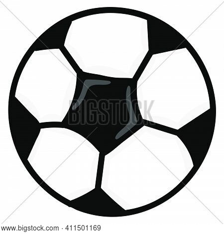 Soccer Ball Sports Equipment Doodle Kawaii. Doodle Icon Image. Cartoon Caharacter Cute Doodle Draw